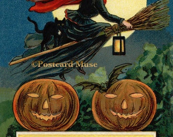 Classic Halloween Witch - New 4x6 Photo Print From A Vintage Postcard HA005