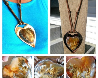 Stone Heart Necklace, Oregon Graveyard Point Plume, Agate Pendant, Mixed Metal and Leather Jewelry, Copper and Silver, Large, Jewelry Gift