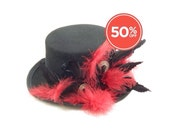 SALE!! Black and Red Feathered Mini Top Hat with Vintage Buttons