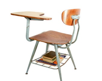 Vintage 1950s Student Tablet Arm Desk Chair - Left Handed - American Seating Co. - Bent Plywood - Wood and Metal - Pivot Back - Blue Metal