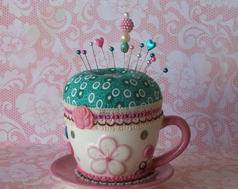 Fun Pink Flower Teacup Pincushion with Button Accents and Teal Cushion