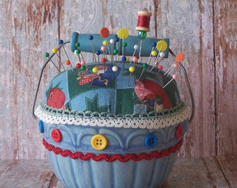 Ceramic Basket PinCushion with Wood Painted Handle