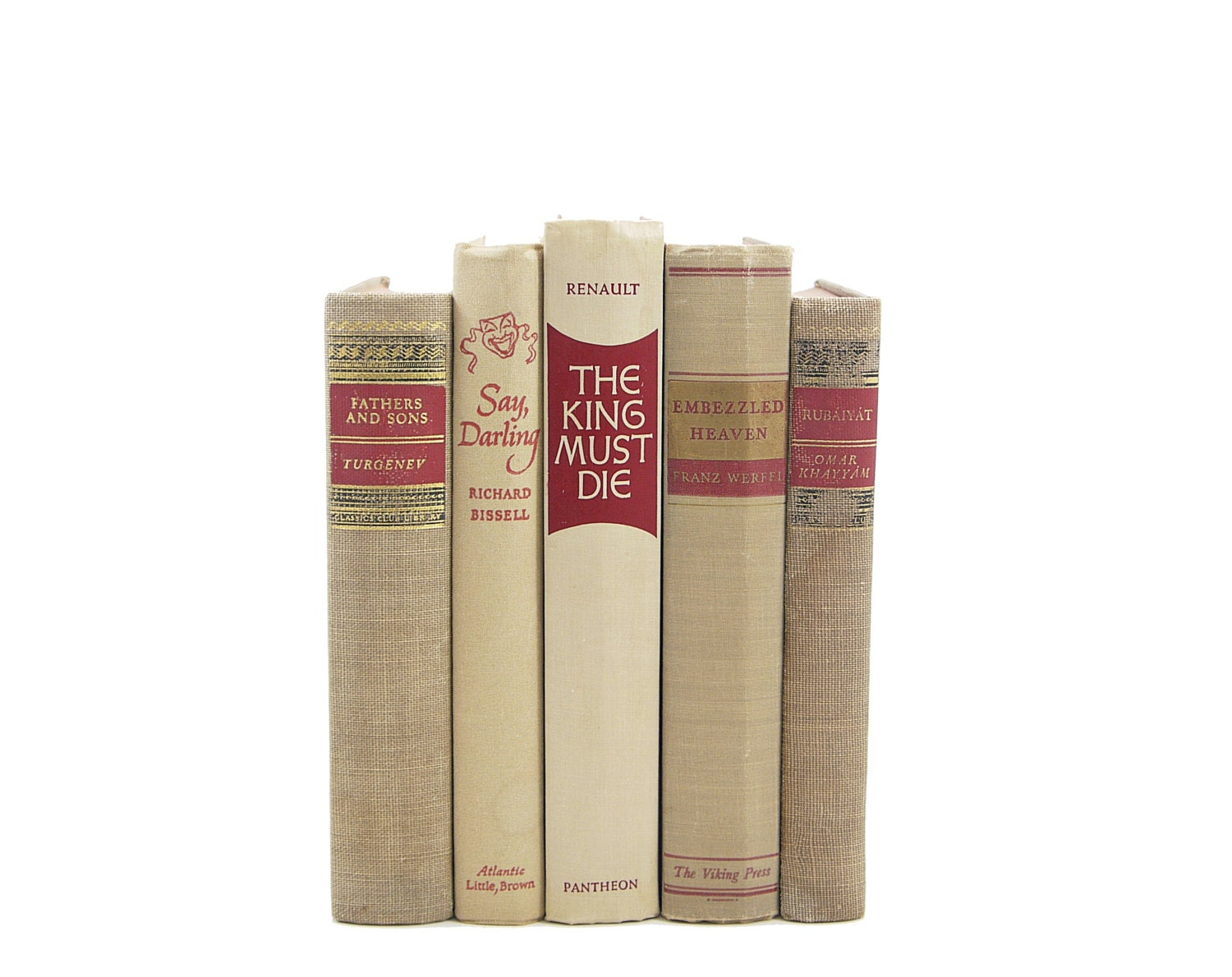 Antique beige books decorative books old rustic book decor for Antique books for decoration
