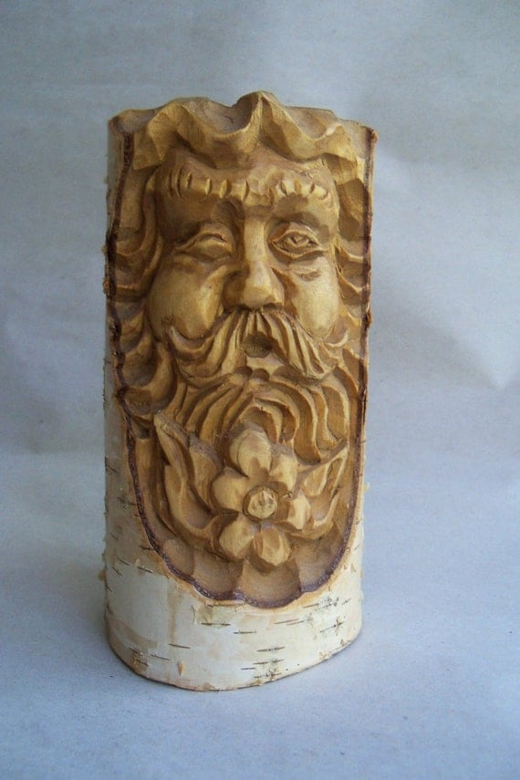 Vintage russian birch tree pencil holder hippy father time