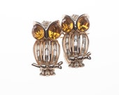 Reserved for Anna - Coro Craft Baguette Rhinestone Owl Duette Brooch 1950's