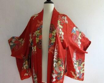 SALE Vintage KIMONO// 1940's Geisha Kimono// 40's Vintage Red Kimono// Japenese KIMONO
