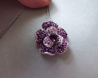 sterling silver Amethyst gemstone flower pendant necklace February birthstone