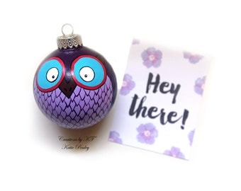Purple Owl Ornament Hand Painted Made to Order