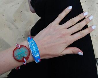 2-Bracelet Set: Hand Engraved Clay Pendants - Unique One of a kind OOAK Jewellery - Inspirational Quotes Bracelets