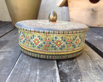 Royal Floral Mosaic Tin - round tin container - floral tin - vintage tin with lid - candy jar biscuit tin - vanity storage