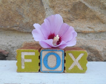 "Wooden Alphabet ABC Letter Blocks ""Fox"" Instant Collection Letter and Numbers Letter F, O and X Vintage Rustic Colorful Letters Set of Three"