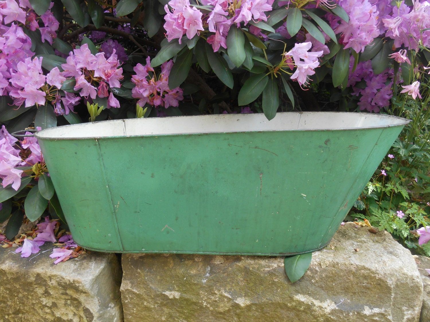 Antique Tin Baby Bathtub Bath Tub Metal Green By Swansdowne
