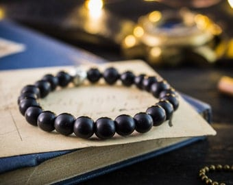 8mm - Matte black onyx beaded stretchy bracelet with silver ornament beads, made to order yoga bracelet, mens bracelet, womens bracelet