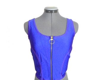 Bright cobalt blue crop cheerleading top - vintage stretchy graphic halloween costume L M dress up uniform midriff zip