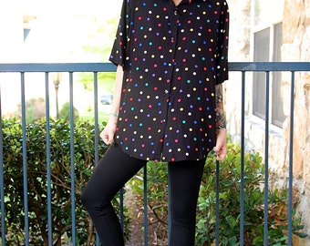 Colorful Polka Dot Oversized Button Down Black Blouse Top // Women's size Medium M
