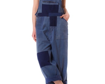 Vintage French Workwear Denim Overall Jumpsuit with Patches