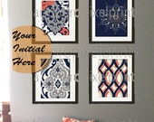 Navy Grey Coral Modern inspired Ikat Art Prints Collection  -Set of (4) - 11x14 Prints (UNFRAMED) #453201450