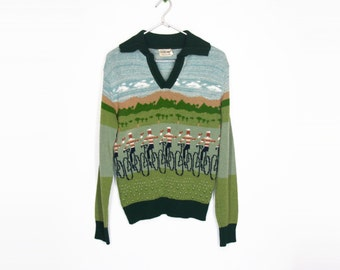 70s Cute Cyclists Knit