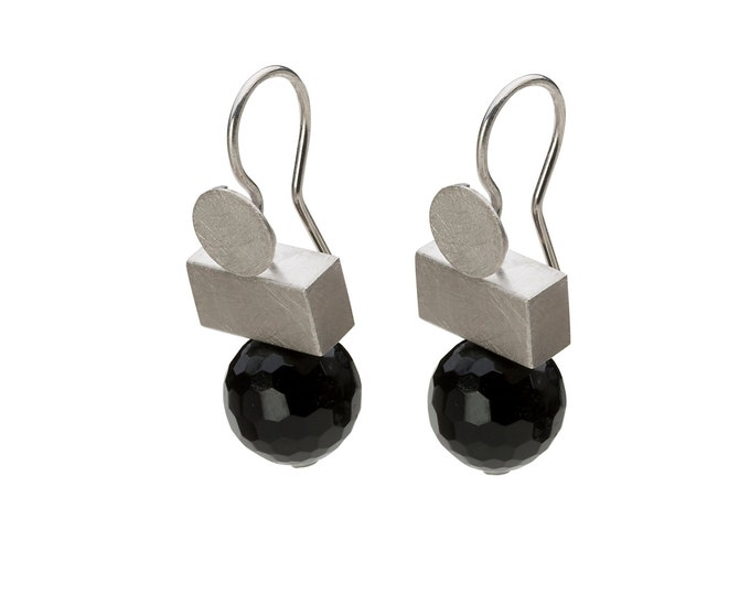 Pendant, 925/000 silver, rhodium, matted, faceted onyx, black. Available in pairs.
