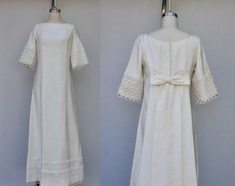 RESERVED 60s Wedding Dress Eyelet Dress Emma Domb Ivory Wedding Dress Eyelet Details Bow Draped on Back 60s Wedding Maxi Dress Size S - M