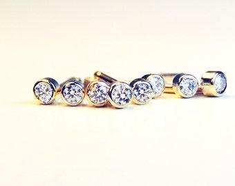 Tiny Diamond Earring- Tiny natural diamond studs