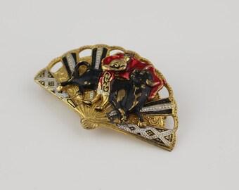 Vintage Gold Tone Spanish Fan Enamel Bullfighter Bull Fighter Brooch Pin