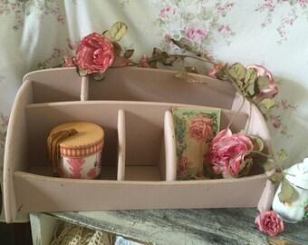 Wood desk storage - desk Organizer - Shabby Chic desk organizer - Old Rose desk set - Makeup storage - Desk Caddy