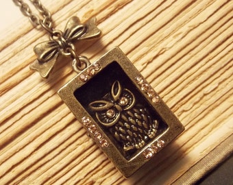 Owl in a Box Necklace