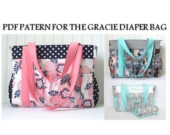 PDF Pattern for Gracie Diaper Bag Coral and Navy Arrow and Gray Owl and Aqua