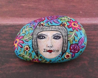Whimsical Garden Stone Mixed Media Inspirational Hand Painted Floral Inspire Rock Paperweight Decor