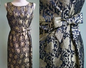 1950's Black & Gold Cocktail Dress - 50's Wiggle Dress - Metallic Brocade Party Dress - Medium
