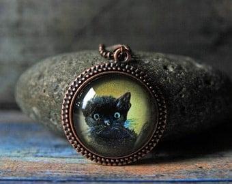 "1"" Round Glass Pendant Necklace - Black Cat"