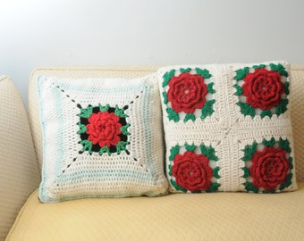 PAIR Vintage Crocheted Pillows Red Roses SOFT