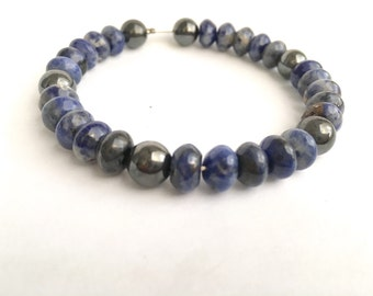 Anniversary Gift, Mens Bracelet, Soladalite and Hematite Gemstone for Him, Fathers Day Present