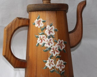 Vintage Hand Painted Wooden Container - Pitcher - Tea Storage Container - Flowers - Rustic - Kitchen Decor - Home Decor - Farmhouse Decor