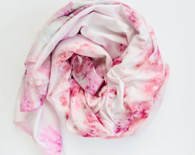 Large organic cotton satin scarf- beach scarf-traveling scarf-traveling oversized scarf-hand colored scarf-red pink white pastels /HEAT
