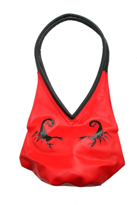 red vinyl, scorpions, glitter vinyl, tear drop, vegan leather, shoulder bag