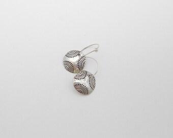 Silver Sunburst Hoop Earrings