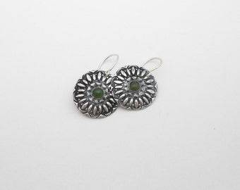 Fine Silver Earrings with Jade Cabachon
