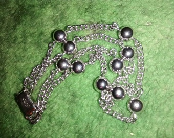Coro Silver Tone Double Chain Hallmarked Ball Linked  Bracelet