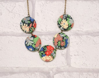 Liberty of London Thorpe Five Button Fabric Necklace