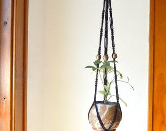 Agate Evening Black Macramé Hanging Planter JuteHandmade Ceramic Beads