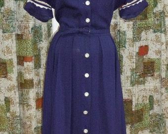 1950's Navy Cotton Linen Dress