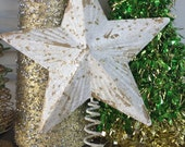 "Glittery White & Gold Star Christmas Tree Topper / 8"" Metal Star / Christmas Tree Holiday Decor"