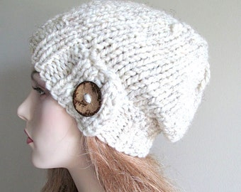 Slouchy Beanie Slouch Wool Hats Oversized Baggy Beret Button womens fall winter accessory Wheat Grey Super Chunky Hand Made Knit