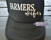 Farmer's Wife Trucker Hat, Farm Life, Black Trucker Hat, Trucker Hat, Snapback Hat, Black Hat, Farm Girl, Farm Hand, God Made a Farmer