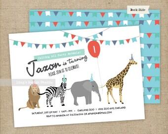 Safari Animals Birthday Invitations Set/ Animals Birthday Invitations/ Zoo Birthday Invitations || Printable