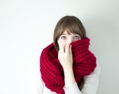 Crochet Infinity Scarf, Knit Ribbed Cowl, Crochet Loop Scarf, Circle Scarf in Red, Unisex Cowl | The Laine Cowl