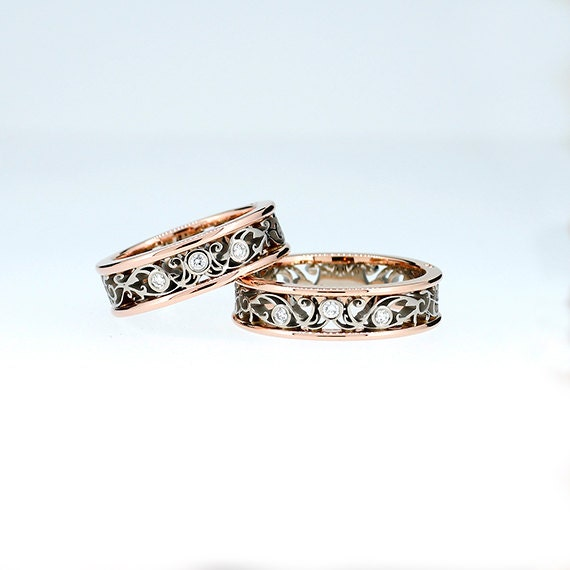 Filigree Ring Bands: Two Tone Filigree Wedding Band Set With 6.00mm Wide Rose And