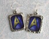 Star Trek Earrings Emblem Logo Picture Earrings Silver Blue